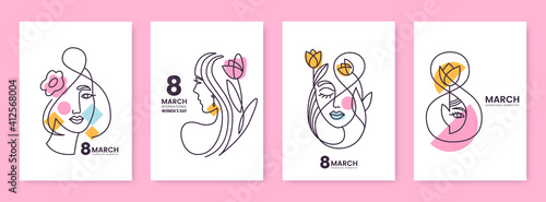 Obraz Women's Day greeting card collection in line art style. Linear silhouettes of beautiful women with flowers and decorative elements isolated on white. Ideal for postcard, promo, beauty salon. - fototapety do salonu