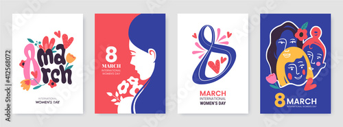 Fototapeta International Women's Day greeting card collection in different styles. 8 March posters design with lettering, womens, flowers and decorative elements. Ideal for print, postcard, social media, promo. obraz