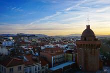Winter Sunset Over Perpignan, France