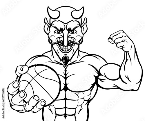 A devil Satan basketball sports mascot cartoon character man holding a ball Fototapet