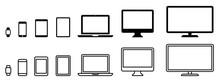 Device Icons Set. Devices Collection Smartphone, Smartwatch, TV, Tablet, Laptop And Desktop Computer. Flat Style.