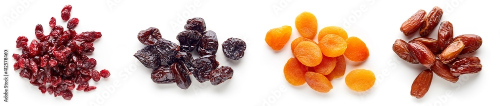Fototapeta Heap of dried fruits isolated on white; from above