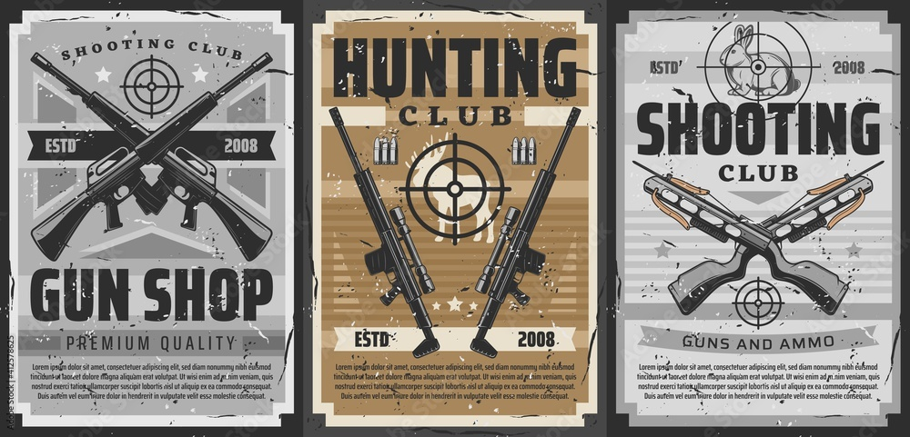 Fototapeta Gun and weapon target retro posters of vector hunting and shooting sport design. Hunter rifles, shotguns and crossbows, carbines with telescopic sights, bullets, cartridges and hunting trophy animals