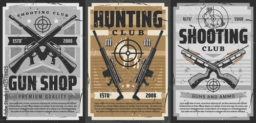 Gun and weapon target retro posters of vector hunting and shooting sport design Fotobehang