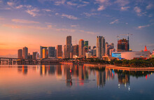 Sunrise Skyline View Beautiful Miami Florida Downtown City Buildings Apartments Classic Bridge Ferris Wheel Reflections Water Sea Palms Tropical Usa Lights Sun