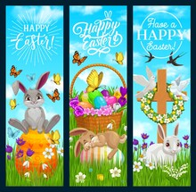 Happy Easter Vector Banners With Cartoon Bunnies Sitting And Sleeping On Painted Eggs On Green Meadow. Flower Wreath Hang On Cross And Basket With Blossoms. Easter Holidays Celebration Postcards