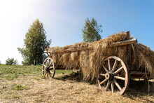 Old Vintage Rustic Wooden Ancient Cart Carriage With Hay Pile On Green Grass Meadow Field Against Clear Blue Sky On Bright Sunny Day. Scenic Rural Countryside Landscape With Aged Transport Farm Ranch