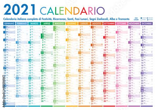 Fototapeta 2021 Italian Planner Calendar with Vertical Months on white background obraz na płótnie