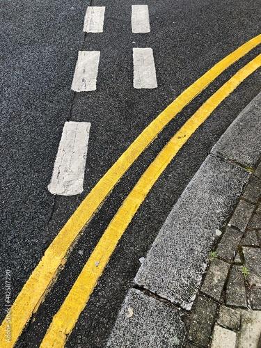 Carta da parati High Angle View Of Zebra Crossing On Road