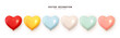 Set of helium balloons. Collection of realistic ballons of heart shapes, different colors, matte and glossy shades. Festive colorful decorative 3d render object. Celebration decor. vector illustration
