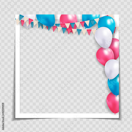 Party Holiday Photo Frame Template for post in Social Network. Vector Illustration EPS10 © yganko