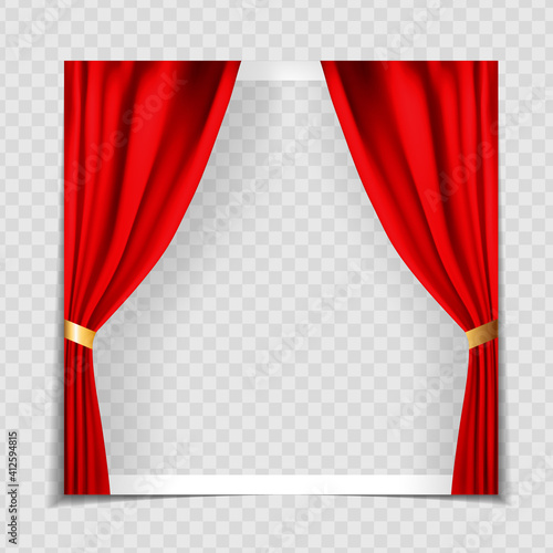 Fotografie, Obraz Red Cinema Curtains Background Photo Frame Template for post in Social Network