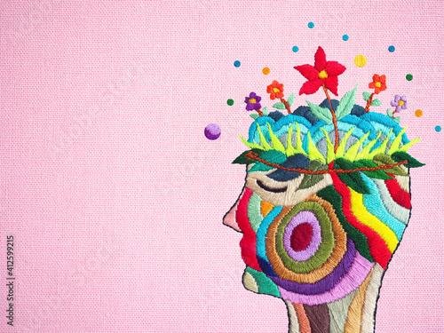 Canvas human flower head grow bloom blossom in nature abstract mind mental health spiri