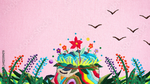 Foto human flower head grow bloom blossom in nature abstract mind mental health spiri