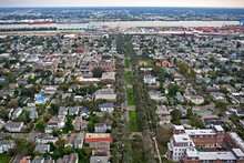 Aerial View Over Napoleon Avenue In New Orleans, Louisiana With The Mississippi River In The Distance In 2006, About A Year After Hurricane Katrina