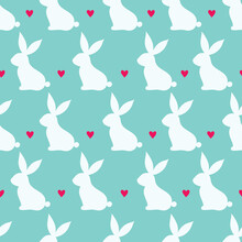 Happy Bunnies. Vector Seamless Pattern. Can Be Used For Wallpaper, Pattern Fills, Web Page Background,textile, Postcards.