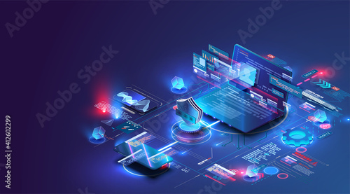 Fototapeta Isometric digital protection mechanism, system privacy. Online file server protection system concept with computer and lock (shield) . Web page design templates Cybersecurity. Vector isometric obraz