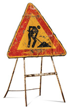 Men At Work Or Work In Progress, Old And Rusty Road Sign Isolated On White Background, Italy, Europe.  Photography.