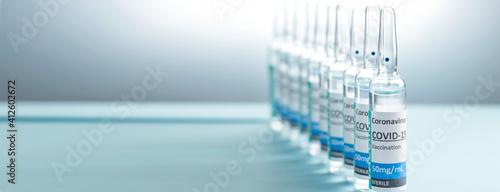 Fotografering Banner covid-19 Corona Virus 2019-ncov vaccine vials medicine drug bottles syringe injection blue nitrile surgical gloves