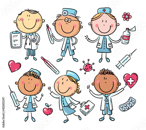Fototapeta Funny cartoon doctors set, stick figure characters obraz