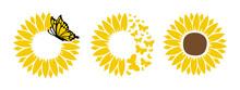 Sunflower With Beautiful Butterfly Set. For Design On T-shirt, Mug, Bag, Mask Background Illustration.