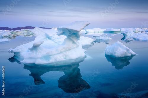 Obraz na plátně floating glaciers at fjord Disco Bay West Greenland