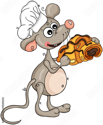 Cook mouse holding a croissant with chocolate #412616256