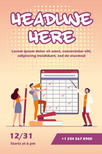 Teacher With Pointer Explaining Matrix With Checkmarks. Students With Megaphone And Pencil Flat Vector Illustration. Training, Webinar, Lesson Concept For Banner, Website Design Or Landing Web Page