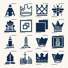 Simple Set Of Monarchy Related Filled Icons.
