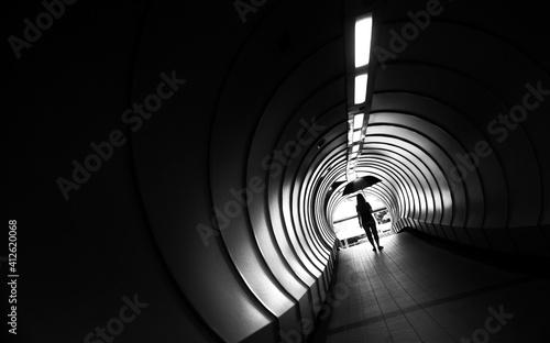 Fototapeta Rear View Of Woman Standing In Subway obraz