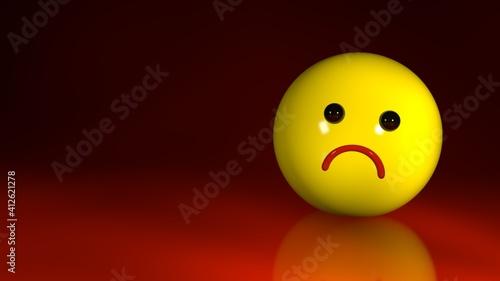 Obraz na plátně Sad emoticon on a dark red background, with a place for text