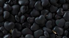 Heart Background. Valentine Wallpaper With Black Love Hearts. 3D Render