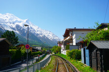 Chamonix France With Mont Blanc Mountain Railway Line Station Stock Photo Stock Images Stock Pictures