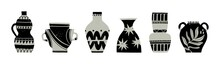 Various Ceramic Vases. Different Shapes. Antique, Ancient Ceramics. Pottery Concept. Various Textures. Hand Drawn Vector Set. Trendy Illustration. All Elements Are Isolated