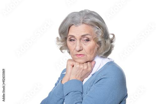 Fotografie, Obraz Portrait of sad senior woman