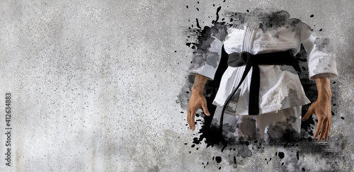 Fototapeta Martial arts master on wall background