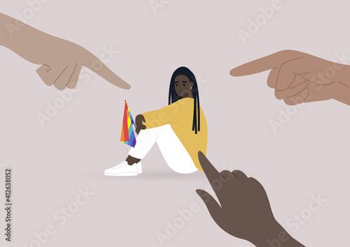 Fototapeta Fingers pointing at an lgbtq person, homophobia problem, cruel intolerant society obraz