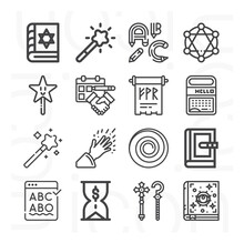 16 Pack Of Imposed  Lineal Web Icons Set