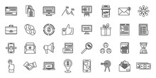 Affiliate Marketing Campaign Icons Set. Outline Set Of Affiliate Marketing Campaign Vector Icons For Web Design Isolated On White Background