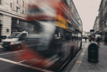 Moving Red Bus In London