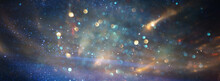 Background Of Abstract Blue, Gold And Black Glitter Lights. Defocused