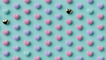 Multicolored Heart Background. Valentine Wallpaper With Pink, Violet And Gold Love Hearts. 3D Render