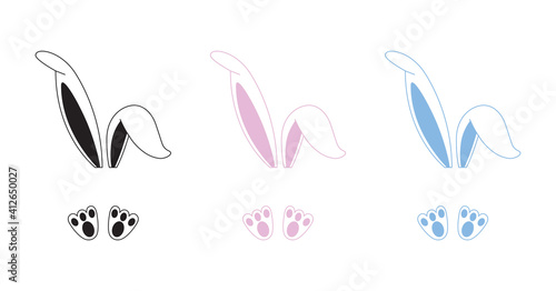 Obraz na plátně Easter bunny ears vector illustration