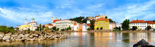 Gran Panorama Of The Inn Shore And Historic Old Town Of Passau On A Beautiful Summer Day, Germany