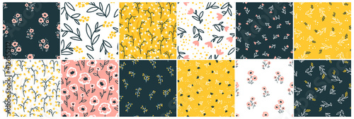 Tablou Canvas Collection Floral seamless pattern with cute small flowers
