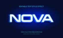 Futuristic Blue Light Text Style Effect. Editable Font Vector File