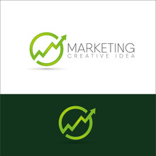 Vector Illustration Of A Creative Idea For A Business Of Statistics And Marketing. Logo Abstract Green Arrow At The Top