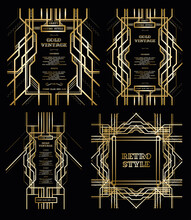 Art Deco Frame  Vector Pattern. Vector Set Retro Pattern For Vintage Party Gatsby Style