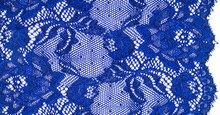 Blue Lace. Elastic Fashionable Textile Jacquard Lace. Decorative Item For Sexy Lingerie. Elastic Tapes. Home Decor. Texture For Your Design. Background. Template.