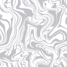 Vector Seamless Pattern. Abstract Marble Texture. Creative Monochrome Background With Liquid Blots. Decorative Design With Marbling Effect. Can Be Used As Swatch For Illustrator.